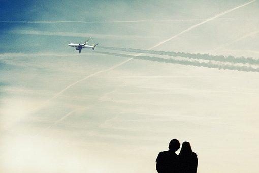 Sky, On, Couples, Blue, Human, Silhouette, Tracks