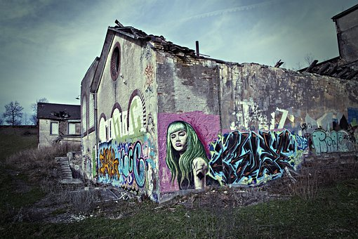Graffiti, Industry, Building, Old, Lapsed, Crash