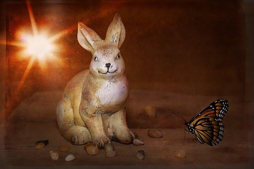 Hare, Dekohase, Stone Hase, Deco, Butterfly, Stones