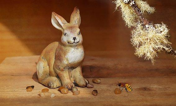 Hare, Dekohase, Stones, Wood, Deco, Decoration, Close