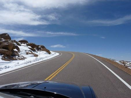 Road, Usa, Colorado, Pikes Peak, Curve, Auto, Drive