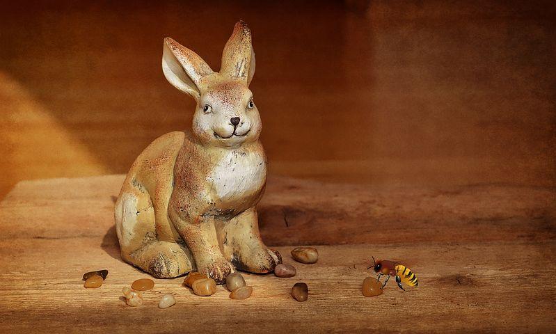 Hare, Dekohase, Decoration, Deco, Bee, Stones, Wood