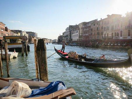 Venice, Gondola, Water, Boat, Canal, Italy, Travel