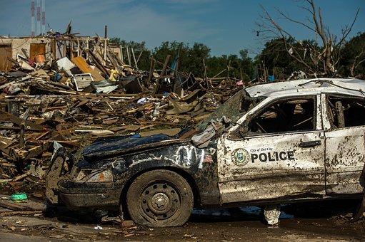 Tornado Damage, Oklahoma, Twister, Police Car