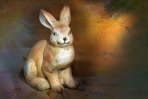 Hare, Dekohase, Stone Hase, Deco, Close, Painting