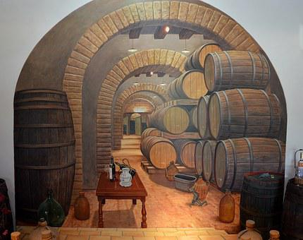 Cave, Wall, Painting, Wine, Winery, Barrel