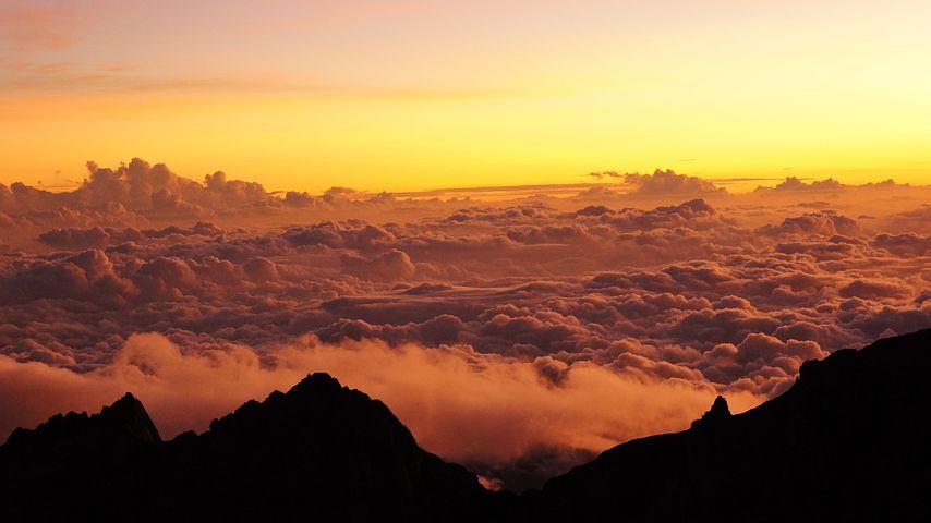 Peak, Mountain, Kinabalu, Borneo, Sky, Clouds, Nature