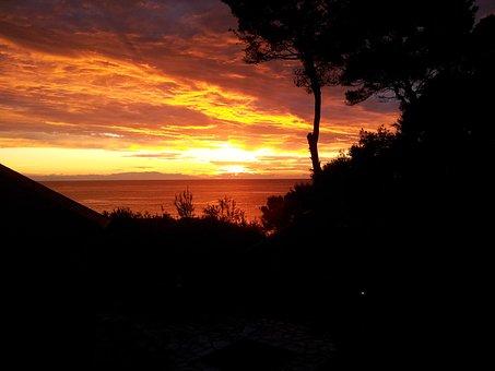 Sunset, Landscape, Sun, Sky, Red, Rays Of Sunshine