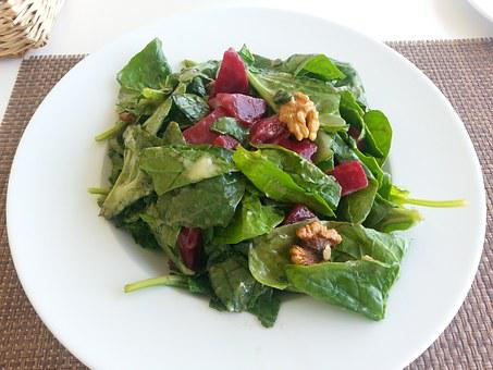 Salad, Spinach, Beetroot, Walnuts, Leaf Spinach