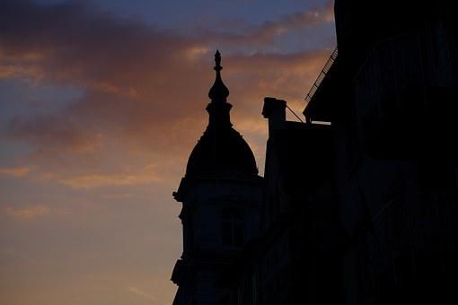 Silouette, Home, Building, Facade, City, Afterglow