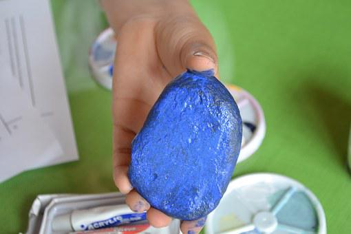 Stone, Boy, Nature, Hand, Paint, Blue, Diy, Hand Made
