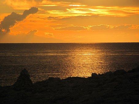 Sunset, Sea, Clouds, Sky, Horizon, Red, Sun, The Quakes
