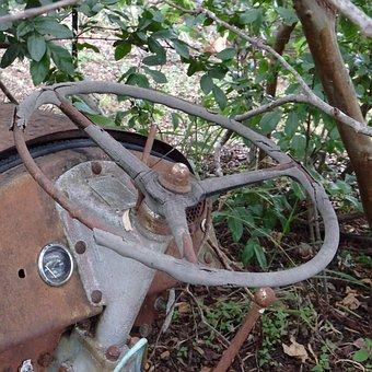 Old, Worn, Rusty, Tractor, Steering Wheel, Vintage