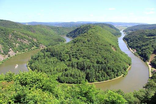 Saar Loop, Saarland, River, Trees, Forest, Nature