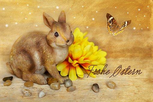 Hare, Easter Bunny, Dekohase, Dekoblume, Flower, Yellow