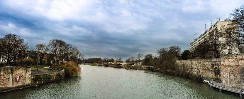 River, Fulda, Homes, Clouds, Sky, Architecture, City