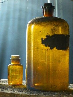 Glass, Bottle, Old, Pharmacy Bottle, Transparent