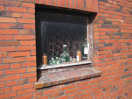 Window, Wall, Bottles, Old, Still Life, House, Brick