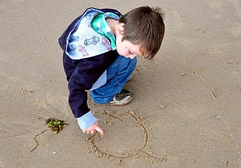 Little Boy, Child, Sand, Drawing, Beach, Seaside, Cute