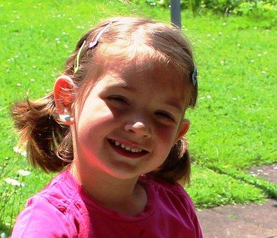 Girl, Cheerful, Smile, Portrait, Hair Clips, Earring