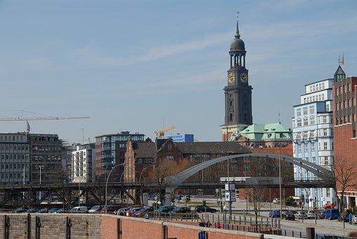 Hamburg, Michel, Cranes, St Michaelis, Church