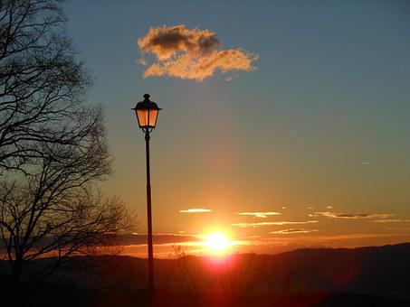 Lamppost, Sunset, Landscape, Sky, Fanale, Evening