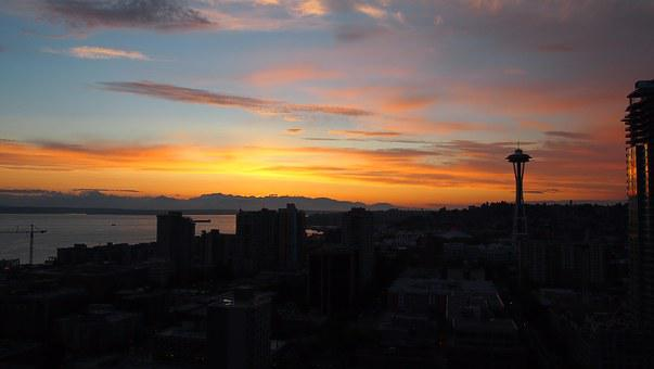 Seattle, Sunset, Mountains, The Olympics, Scenic