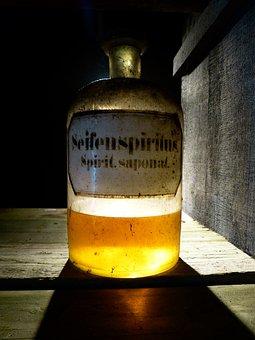 Glass, Bottle, Old, Pharmacy Bottle, Alcohol
