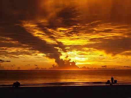 Sunset, Indian Shore, Beach, Clouds, Orange, Landscape
