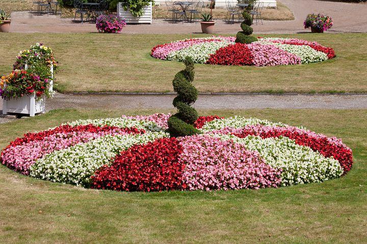 Italian Garden, Rondelle, Flowers, Flora, Pink, Red