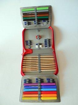 Portfolio, School, Pens, Colored Pencils