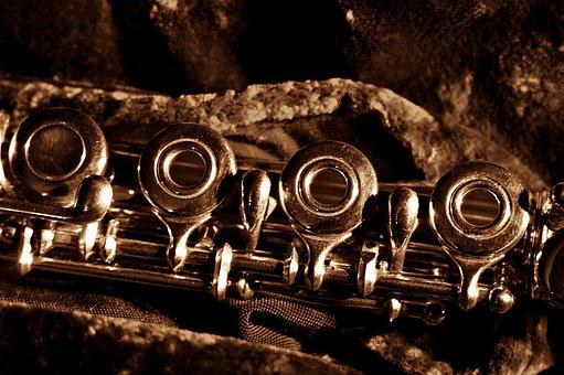 Flute, Mechanics, Ring Keyed Flute, German Flute, Sepia