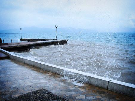 Peer, Water, Splash, Storm, Rain, Drops Of Water