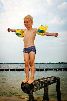 Lake, Boy, Swimming, Jump, Water, Summer, Child
