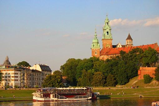 Krakow, River, Poland, Castle, Campanile, Houses, Water