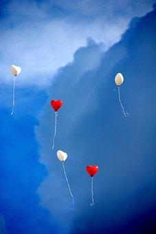 Balloon, Heart, Love, Romance, Sky, Heart Shaped, Red