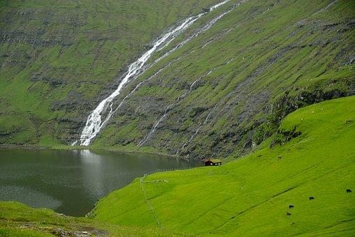 Faroe Islands, Saksun, Cascade, Fjord
