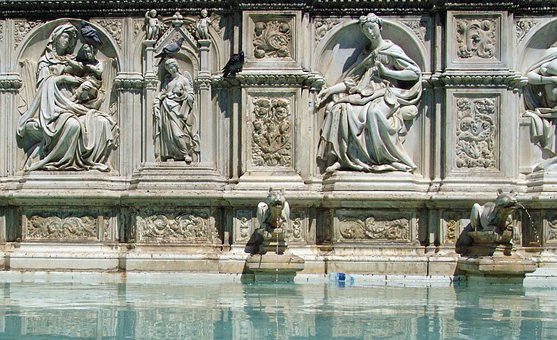 Italy, Sienna, Fountain, Water Games, Sculpture