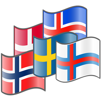 Nordic Flags, Denmark, Iceland, Norway, Sweden, Faroes