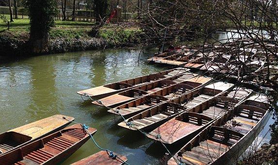 Punts, Punting, Oxford, River, Thames, Boat