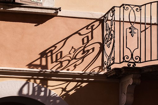 Balcony, Railing, Parapet, Shadow Play, Grid