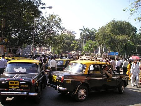 India, Mumbai, Bombay, Taxi, Road, Chaos
