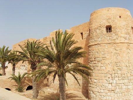Castle, Tunisia, Djerba, Palm Trees, Stones, Heritage
