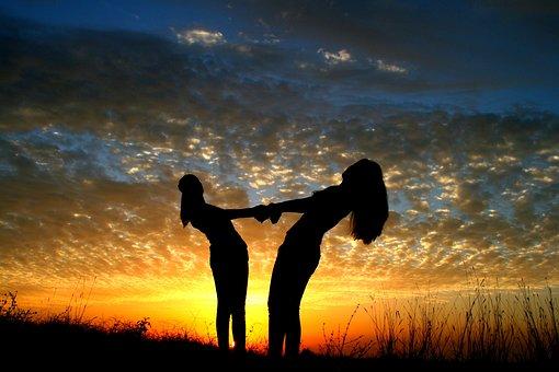 Girl, Sunset, Balloons, Friendship, Sun, Sky Clouds