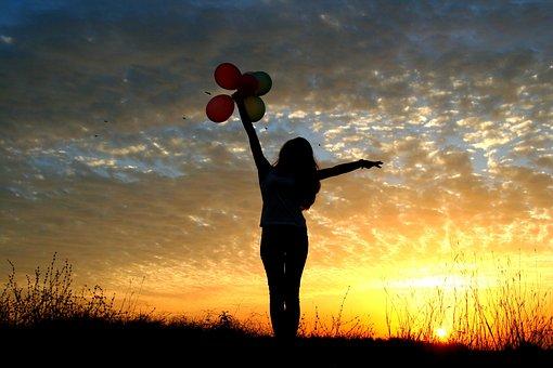 Girl, Sunset, Balloons, Sun, Sky Clouds, Silhouette