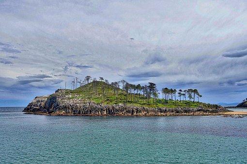 Island, Headland, Trees, Lekeitio, Point, Landscape
