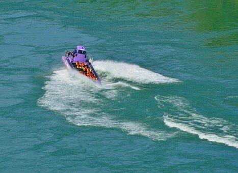Purple Jet Boat, Spinning, Waves, Niagara River