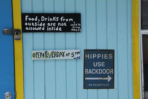 Sign, Bar, Hippies, Text, Food, Drink, Bahamas