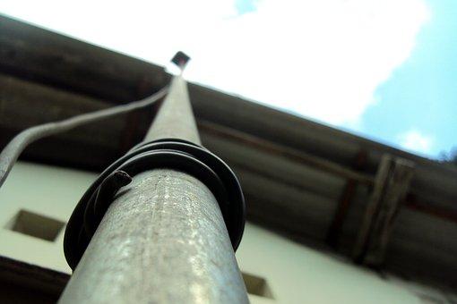 Antenna Pole, Pole, Wire, Macro Effect, Bird Eye