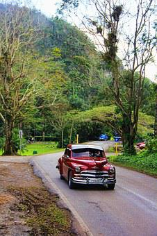 Oldtimer, Red, Metallic, Auto, Road, Cruiser, Nature